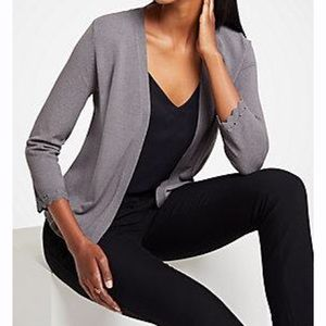 Ann Taylor Gray Open Front Cardigan NWT
